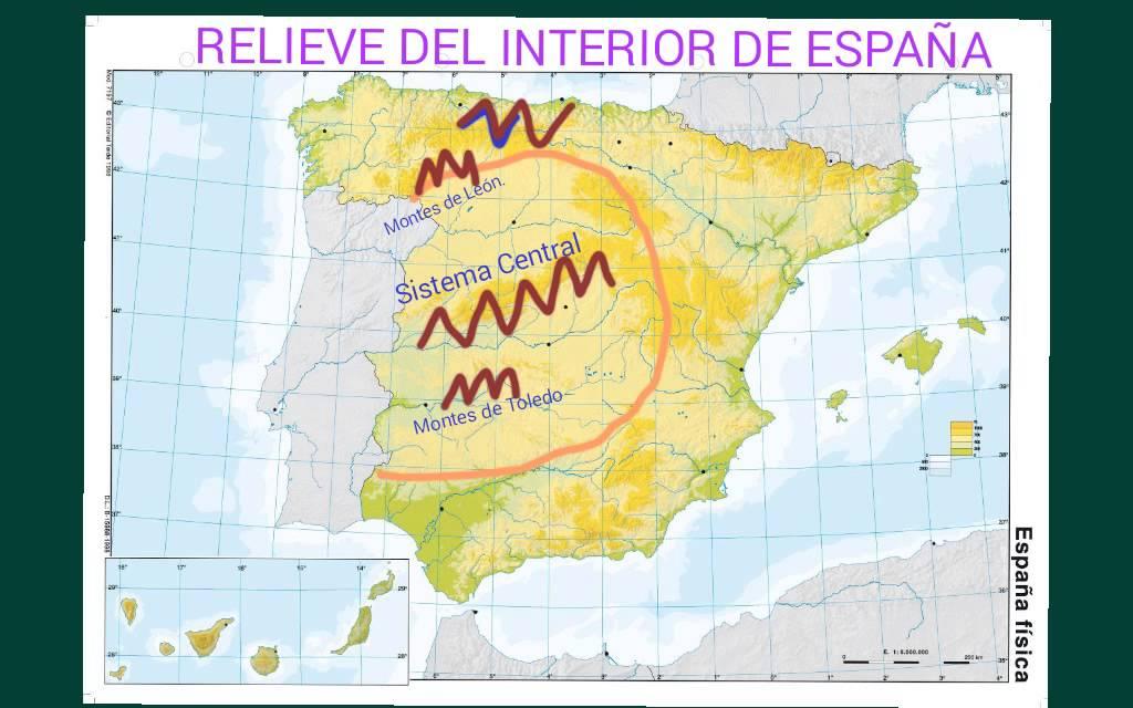Mapa Relieve De España Para Niños.El Relieve De Espana