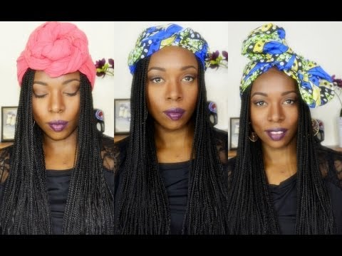 How To Headwrap Styles On Box Braids Youtube