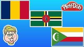 Play-Doh Flags! Chad, Dominica, and Comoros! EWMJ #494