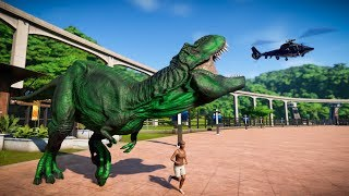 Green T-Rex & Carcharodontosaurus Breakout & Hunted! Jurassic World Evolution