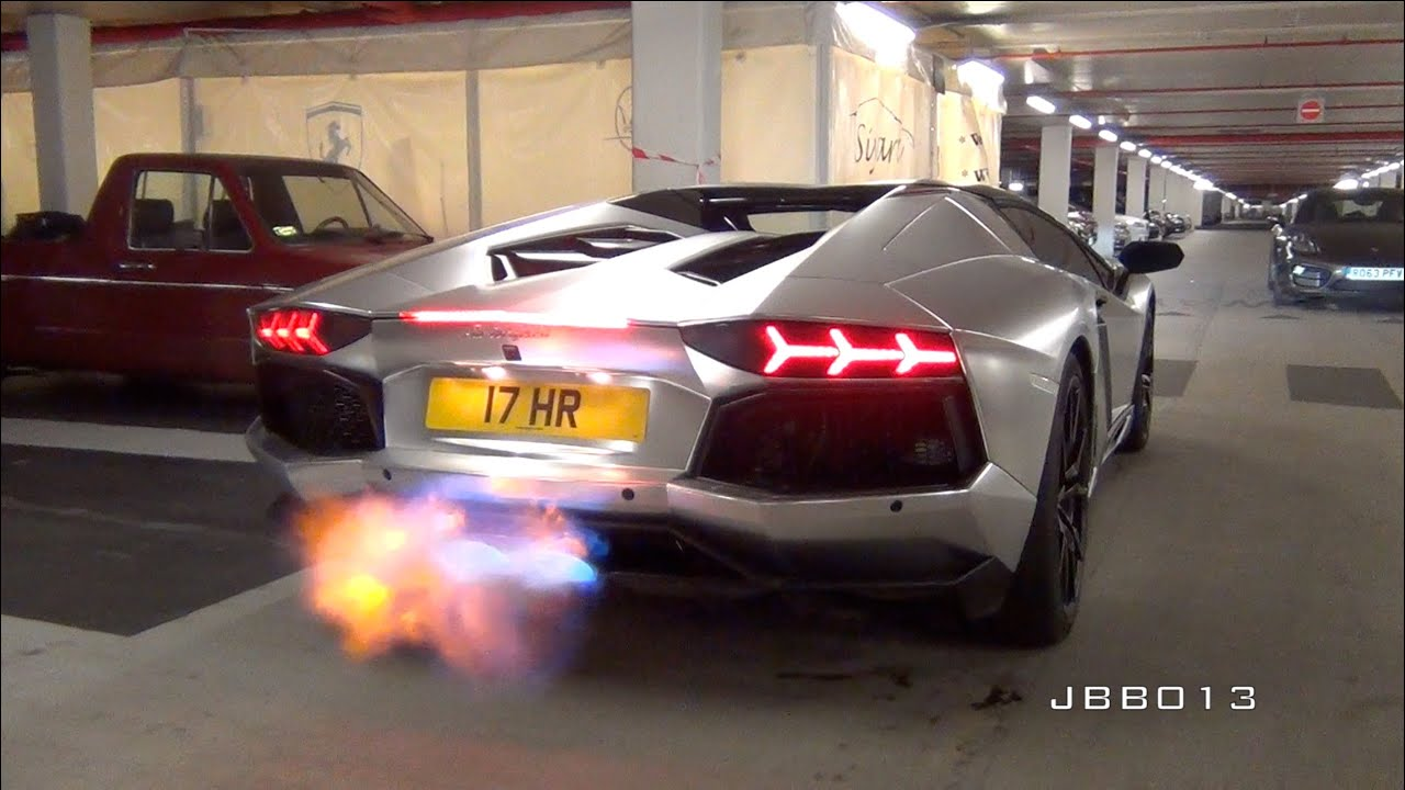 London Supercar Madness January Flaming Aventador Novitec
