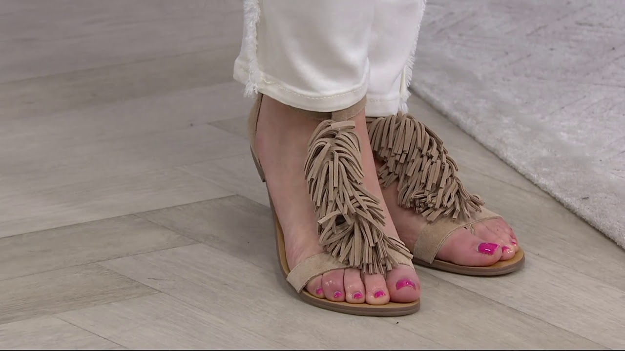 Sole Society Suede Fringe Flat Sandals