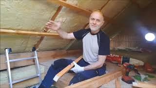 Ruszt drewniany okładziny z OSB na strychu.