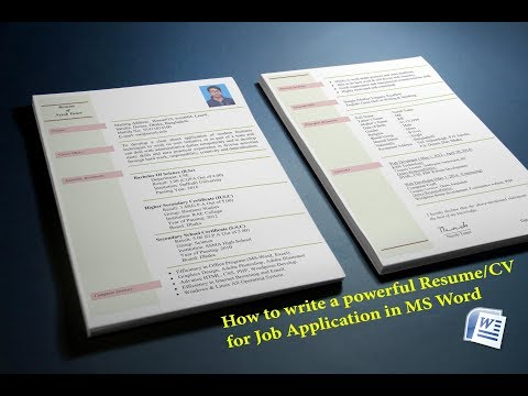 How to create a Resume/CV for Job Application in MS Word