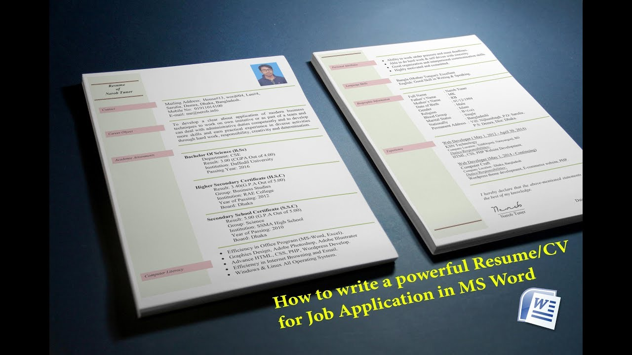 How to create a Resume/CV for Job Application in MS Word - YouTube