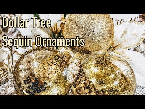 DIY Dollar Tree Gold Bling Glittery Christmas Ornaments| Glam Christmas| Day 8
