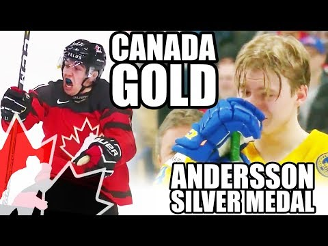 Team Canada Wins Gold @ World Juniors! VS Team Sweden 3-1 - Lias Andersson Throws Medal Into Crowd