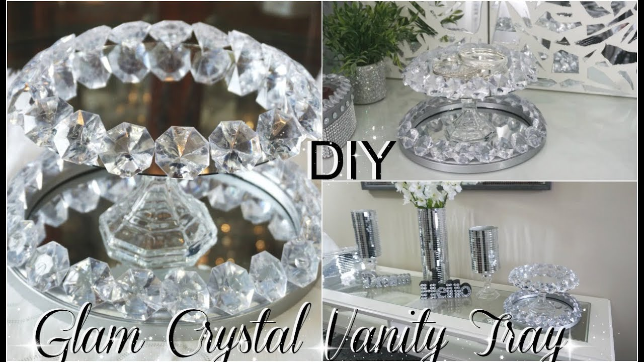 stainless beaded concept crystal mirror heim clear sparkle vanity steel with throughout tray