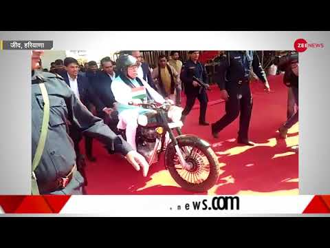 Watch Haryana Chief Minister Manohar Lal Khattar riding a bike