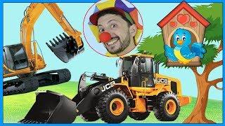 Construction vehicles Excavator, Loader & clown Bob build Birdhouse for Singing Bird