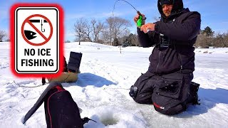 TINY Golf Course Pond is LOADED w/ SLAB Hybrids!! --Ice Fishing