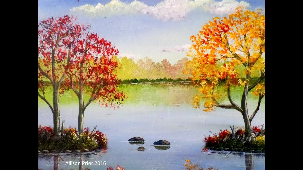 How To Paint Autumn Trees On A Pond With Acrylic Painting