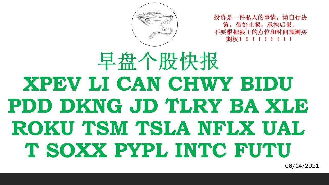 美股早盘个股快报 XPEV LI CAN CHWY BIDU PDD DKNG JD TLRY BA XLE ROKU TSM TSLA NFLX UAL T SOXX PYPL INTC FUTU