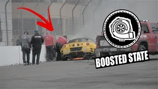 900 HP FORMULA DRIFT FERRARI CRASHES AND CATCHES FIRE ON ITS DEBUT!!