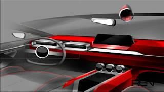 자동차 인테리어 스케치, 디자인 & 포토샵 렌더링(Car Interior Design & Photoshop Rendering)