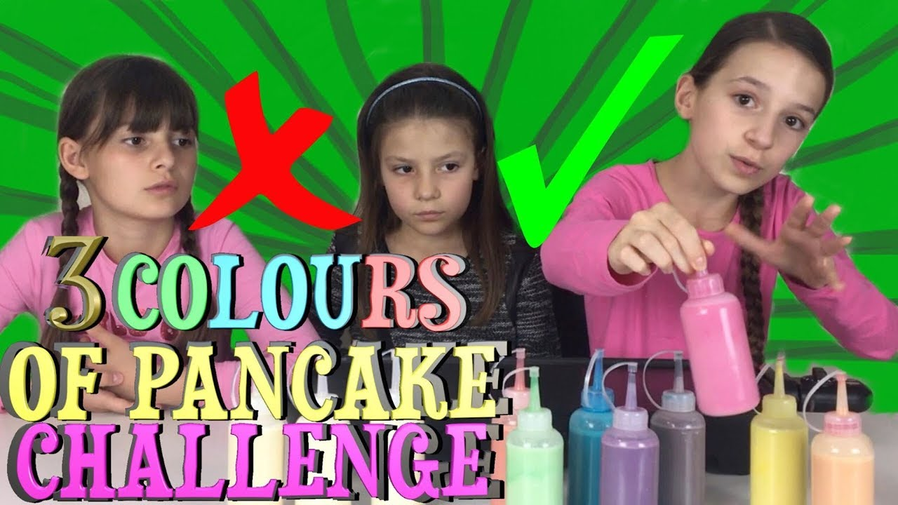 3 COLORS OF PANCAKE ART CHALLENGE !!! Lévanah & Family