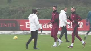 Mandzukic trains alongside new team mate Ibrahimovic after joining AC Milan