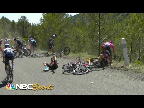 Loose gravel causes multi-rider crash in Stage 13 | Cycling on NBC Sports |