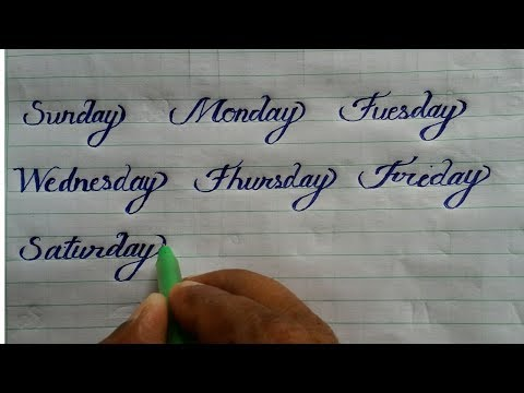 Sunday Monday Learn Igraphy And Cursive Writing