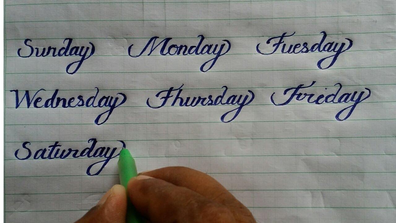 Sunday monday करसिव राइटिंग learn calligraphy and