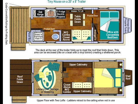 Tiny House Plans on Wheels - Main Floor Bedroom/Office & Lofts!