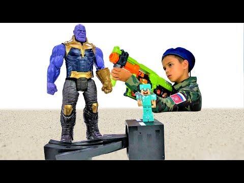 Игры для мальчиков - Стив Майнкрафт в армии! - Прогоняем Таноса.