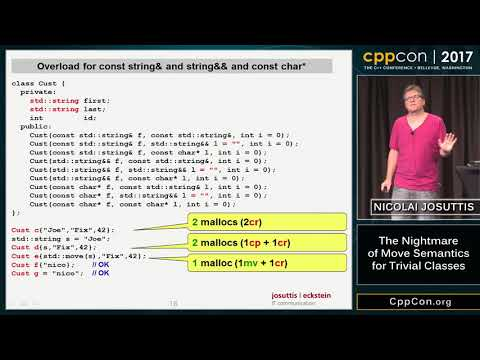 "CppCon 2017: Nicolai Josuttis ""The Nightmare of Move Semantics for Trivial Classes"""