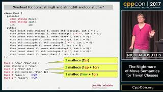 "CppCon 2017: Nicolai Josuttis ""The Nightmare of Move Semantics for Trivial Classes"""