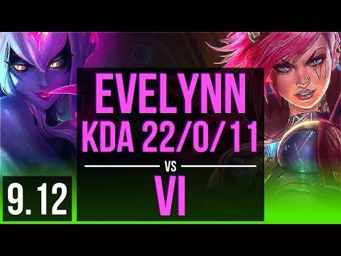 EVELYNN Vs VI (JUNGLE) | KDA 22/0/11, Legendary, 2 Early Solo Kills | Korea Diamond | V9.12