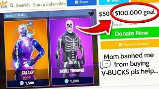 So I donated to a kid on GoFundMe because his mom didn't want to buy him skins...