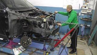 Mazda CX-5.  Вытяжка полок крыла. Рихтовка.