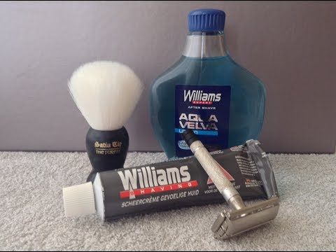 Gillette Black Tip Razor - William's Shaving Cream - Satin Tip Brush - William's Aqua Velva Splash