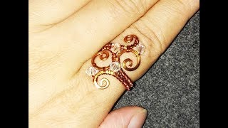 Wave copper ring - handcrafted copper jewelry 48