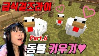 [마인크래프트 Part6] 구독자들이 알려준대로 동물 키우기!!! [급식걸즈라이]