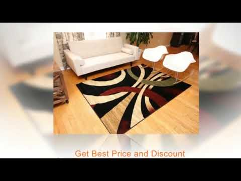 Feraghan New City Brand Contemporary Modern Wavy Circles Area Rug 9 X 12 Brown Beige