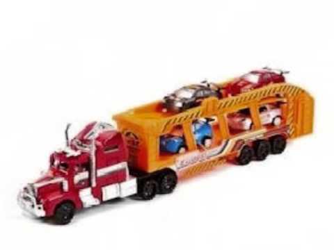 camion transporteur friction power sport express avec 4 voitures de course jouet pour les. Black Bedroom Furniture Sets. Home Design Ideas