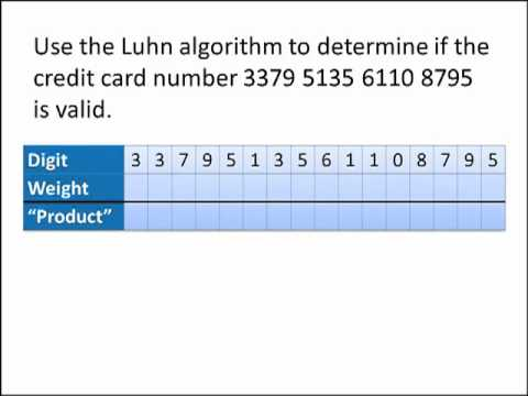 Math for Liberal Studies: The Luhn Algorithm