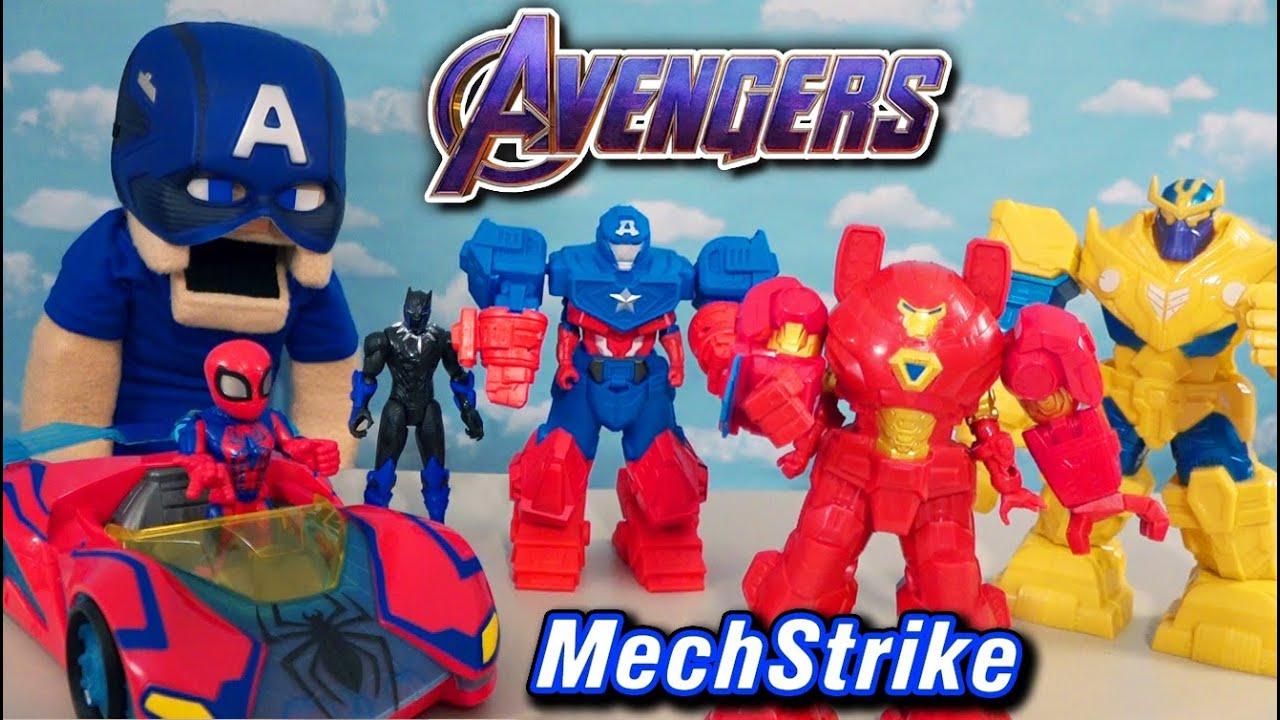 Marvel AVENGERS MECHSTRIKE Hasbro Figures Iron Man, Spiderman vs Thanos Movie Toys!