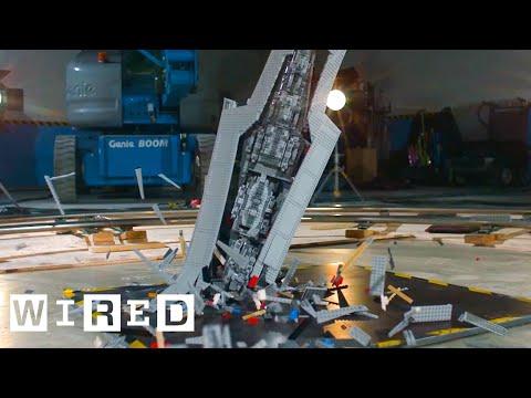 Giant Star Wars LEGO Super Star Destroyer Shattered at 1000 fps | Battle Damage video