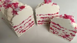 making strawberry ice cream slice cold process soap