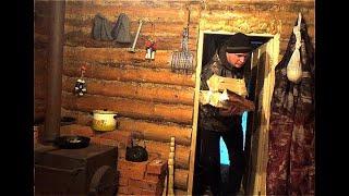 Ночёвка в дикой тайге зимой. Опять один в тайге. Таёжная изба в зимнем лесу. Часть 1.