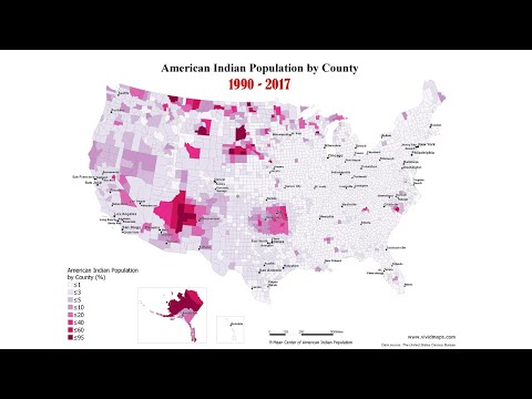 American Indian Population by County, 1990 – 2017