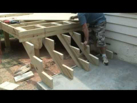 How To Build Deck Stairs Decks Com Youtube | Premade Wooden Steps For Porch | Cedar Tone | Deck Stairs | Fiberglass | Concrete Stairs | Manufactured Homes