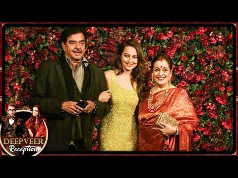 Sonakshi Sinha With Shatrughan Sinha At Deepika Ranveer Mumbai Reception Party 2018