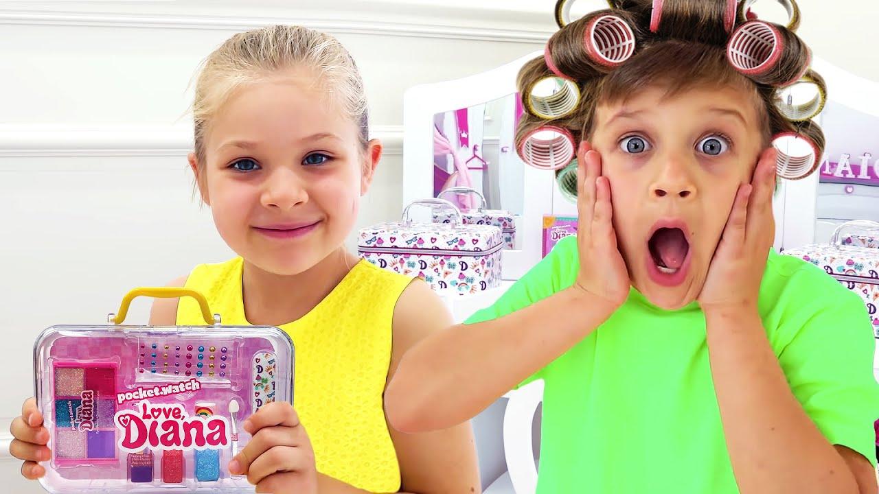 ديانا تتظاهر بأن لديها صالون تجميل خاص بها مع مجموعات مكياج أطفال جديدة!