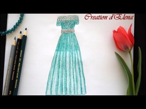 creatin-d'elena---how-to-draw-evening-green-dress---chiffon-dress-drawing