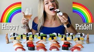 Rainbow Sushi MUKBANG   Happy Pride + International Sushi Day!!!