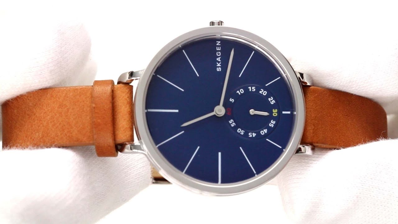 jewelry product wrap free double watch s overstock watches skagen leather shipping blue hagen womens women today