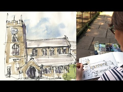 Sketching Haworth Church