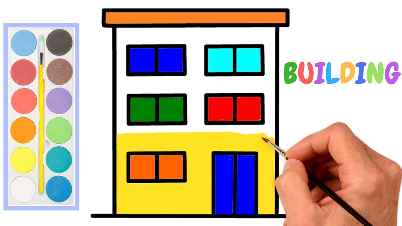 How To Draw A Buildings Apartment For Kids And Art Coloring Book With Brush Pages Drawing Easy Step